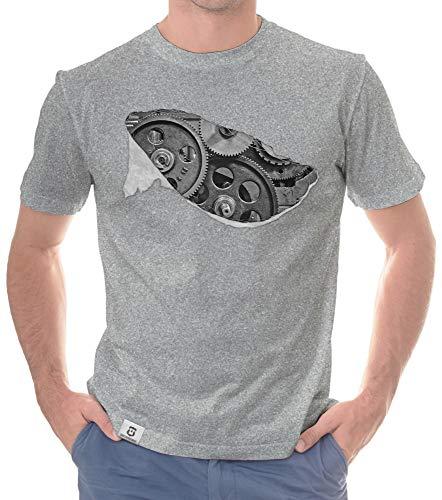 shirtdepartment - Herren T-Shirt - Zahnrad Maschine hellgrau-grau XXXL