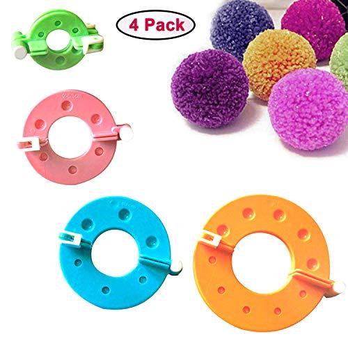 Curtzy 4-TLG Kunststoff Pom Pom Maker Set mit Verschiedenen Größen 9, 7, 5.5, 3.5cm Bommel Maker - DIY Plüschige Pom Poms für Dekorationen, Girlanden, Charms und Mehr - Einfach zu Verwenden