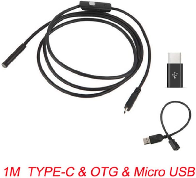 CHR Endoskopkamera Flexibel IP67 wasserdichte USB-Inspektions-Endoskopkamera F/ür Android PC Notebook 6LEDs Einstellbar,1MTYPE-COTGUSB