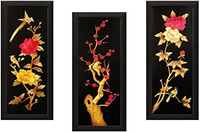 SAF Flower Textured UV Print Painting(Set of 3, 18 cm x 2 cm x 40 cm) SANFD106