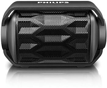 Philips BT2200B/27 Shoqbox Mini Rugged Compact Wireless Waterproof Outdoor or Shower Portable Bluetooth Speaker  Black