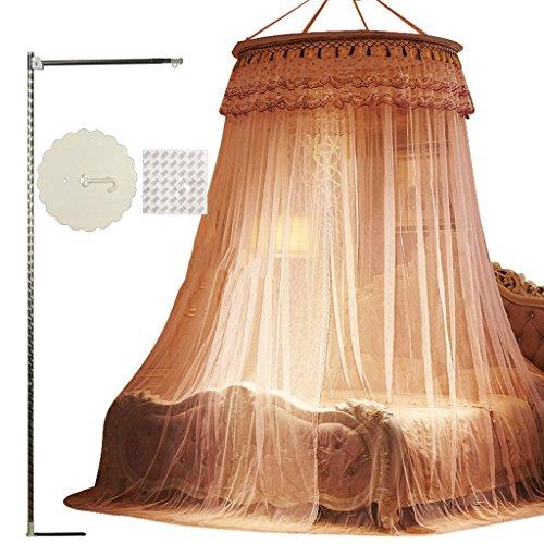 MEIDUO MOSQUITO NET 135cm Dome Diameter 100% Polyester Glasvezel Blauw/Roze / Paars / Geel / Jade Kleur Verlaagde Plafond Muggen Netto Vloerstaande Roestvrij Staal Beugel Bed Mantel Met Beugel Insect Vliegbescherming Scherm,