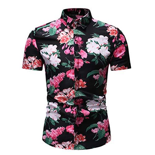 Camisa Hombres Verano Moda Impresión Hombres Shirt del Músculo Botón Tapeta Kent Collar Hombres Shirt Ocio Cómoda Negocios Hawaii Manga Corta Hombres Shirt Playa F-Red(C) XXL