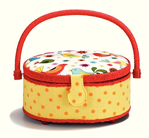 Prym Bird Print Kids Small Craft Storage Basket Red, Yellow & White