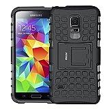 FETRIM Coque Galaxy S5 Mini,S5 Mini Coque, Armor Support Protection Étui,Anti Chocs Bumper Étui Hybride Protection Housse Cover pour Samsung Galaxy S5 Mini (Noir)