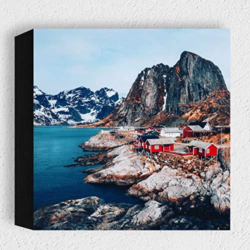 Card-Art - Norwegen, Svolvær - Moderne Kunstdruck Holzbilder Deko für Wohnzimmer, Schlafzimmer oder als Geschenk-Idee - zum Hinstellen auf dem Tisch oder Aufhängen als Foto-Wand