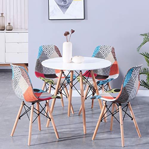 BenyLed ML-001 Esstisch und Patchwork-Stühle, rund, 80 cm, 4 Stück, modernes Design, Holz-Esstisch und Stühle