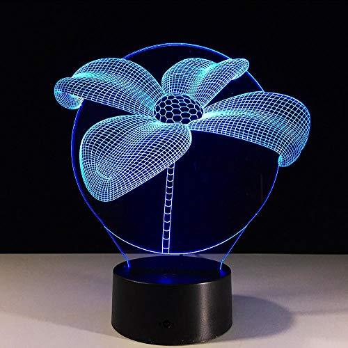 Layyqx 3D-lamp Lotus 7 nachtlampje met ledverlichting voor kinderen, touch-leds, usb-tafelnachtlampje, Enfant voor kinderen