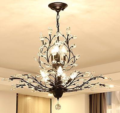 Ganeed Crystal Chandeliers,Vintage 8 Lights Pendant Light,K9 Clear Crystal Chandelier Lighting Fixtures,Ceiling Light for Living Room Bedroom Restaurant Porch Hallway (Black)