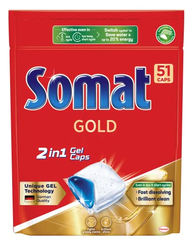 Somat Gold 2in1 Gel Dishwasher Capsules (51Pack), Dishwashing Tablets for Brilliant Shine, Dishwasher Detergent Fights Greasy Stains even in Eco and Short Cycles