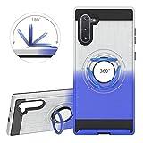 YiCTe Gradient Farbe Zwei in eins Handyhülle with a Ring Ständer for Samsung Galaxy Note 10/Note 10 5G,Autohalterung Handyhalterung Harter PC weiche Silikon TPU-Abdeckung Handyhülle,Splitter & Blau
