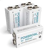 POWEROWL 9V Pilas Recargables Rendimiento más Alto Litio de Batería Li-Ion Baja autodescarga 4 Piezas (Precargadas, 600mAh, 1200 ciclos)