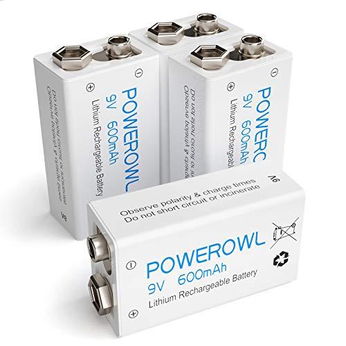POWEROWL - 600mAh Batterie 9V Ricaricabili,Li-ion Pile Ricaricabili Stilo 9V 4 Pezzi per Allarme antifumo, Walkie-talkie,Multimetri ed altri dispositivi