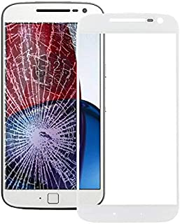 Mobile Phones Communication Accessories Front Screen Outer Glass Lens for Motorola Moto G4 (Black) (Color : White)