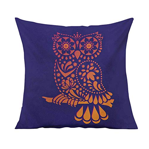 Indie Decorative Throw Pillow Cover,Ornamental Hand Drawn Owl Figure in Vintage Style Floral Details Wisdom Symbol Square Pillow Case for Patio Couch Sofa Home Car Couch,24x24 Inches,Purple Orange