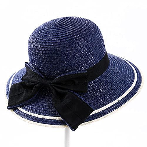Sonnenhut Strohhut Hut Damen Sonnenhut Damen Eleganter Hut Weibliche Vintage Hüte Stroh Strandhut-Marineblau