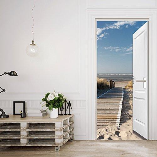 murimage Türtapete Meer 3D 86 x 200 cm inklusive Kleister Tür Ausblick Meer Strand Dünen Steg Ostsee Nordsee Fototapete