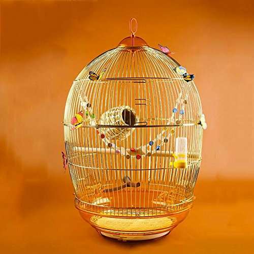 LONG JiaYue Luxury100 Hochtemperatur Chromüberzug Metall Vogelkäfig Golden Color Small 47x76CM, Set 1