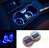 TRUE LINE Automotive Blue Solar LED Energy Cup Holder Insert Interior Car Tray Light Lamp Kit USB Rechargeable