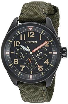Citizen Eco-Drive Garrison Quartz Mens Watch Stainless Steel with Nylon strap Field watch Green  Model  BU2055-16E