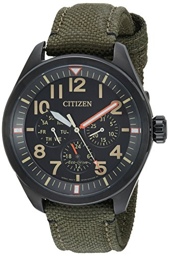 Citizen Men's 'Military' Quartz Stainless Steel and Nylon Casual Watch, Color:Green (Model:...
