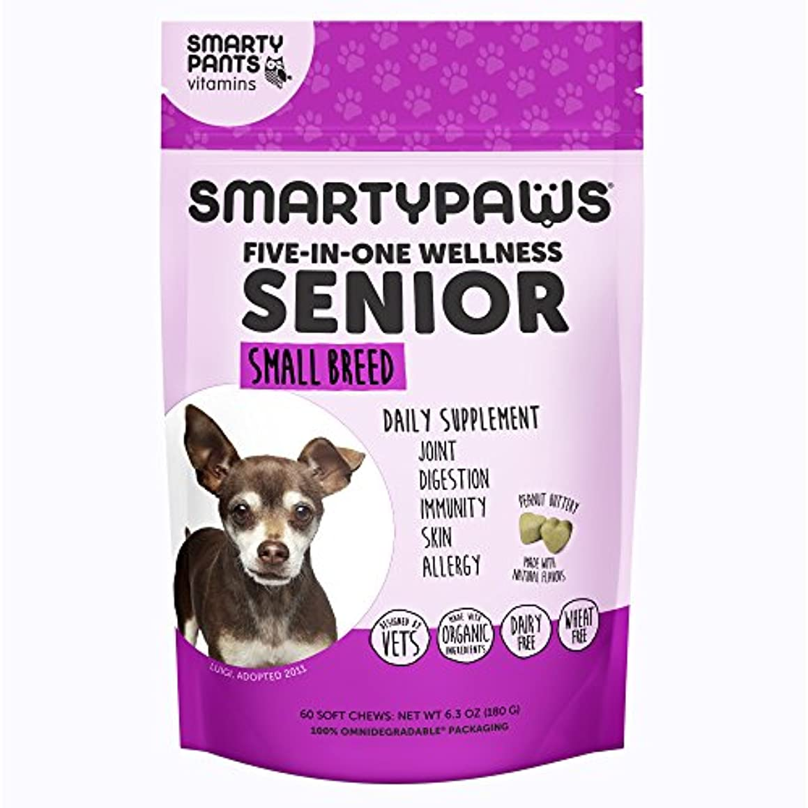 SmartyPaws Multifunctional Dog Supplement Chew: Fish Oil Omega 3 (EPA & DHA) for Skin & Coat, MSM for Joint Support, Digestive Probiotics for Immunity, Turmeric for Allergy Support - 60 Count
