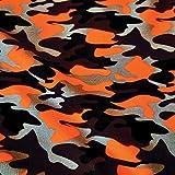 Stoff Meterware Baumwolle Jersey orange schwarz braun grau