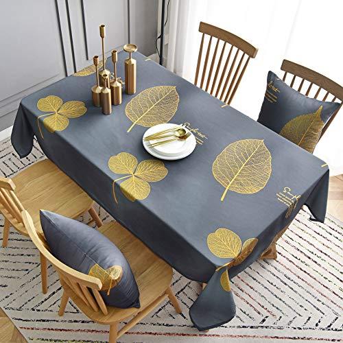 LMDY Home Mantel Decorativo Suave Lavable Mantel Alargado Mesa Color sólido Mesa Ovalada Fiesta de Boda Fiesta de Restaurante Hoja Dorada Impermeable y Resistente al Aceite Mantel Gris 130 * 180CM