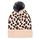 Gorro de lana para mujer, gorro de leopardo, con pompón de piel, accesorio de viaje