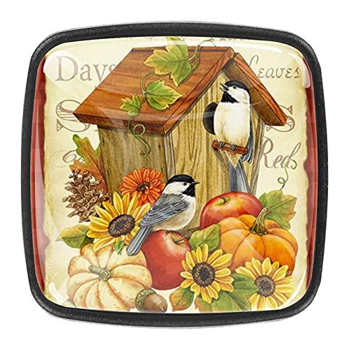 Tiradores cajón cristal 4 piezas perillas gabinete,Bienvenido Fall Bird House Flower ,para puerta cocina escritorio tocador