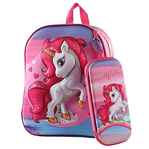 NALCY Zaino Unicorno per Bambini, Astuccio Zaini per Asilo per Bambini in Età Prescolare Zaino Scuola Borsa Sveglio Zaino per Vambino