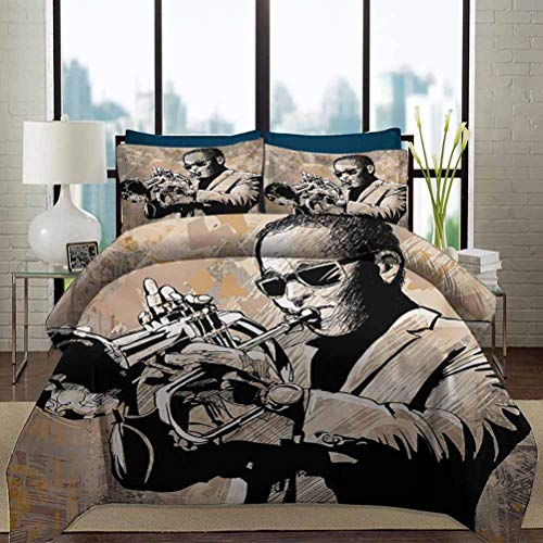 Jazz Music Bedding Duvet Cover Set Twin Size Grunge Style Illustration of Musician with Sunglasses Playing Trumpet Decorative 3 Piece Bedding Set with 2 Pillow Shams for Girls Boys Kids Beige Black