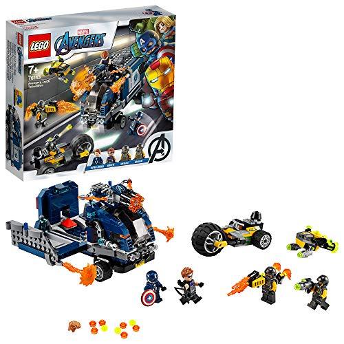 LEGO SuperHeroes Avengers-AttaccodelCamion, Playset Smontabile con Minifigure di Capitan America e Hawkeye, 76143