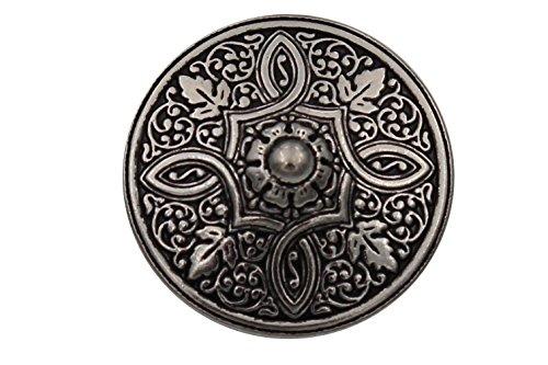 Silber Knöpfe aus Metall geschwärzt, wunderschönes Muster, Made in Germany 15mm oder 20mm (6 Stück) (15mm)