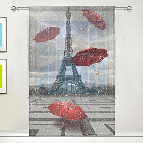 Use7 Vorhang, romantischer Eiffelturm mit fliegenden Regenschirmen, durchsichtig, moderne Fensterverschönerung, Paneel-Kollektion für Wohnzimmer, Schlafzimmer, Heimdekoration, 139,7 x 19,8 cm, 1 Stück