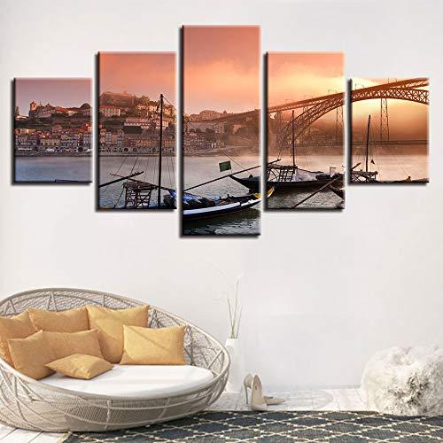 CNCN Canvas Poster Wall Art HD Prints 5 Stuks Porto Ponte Dom Brug Schilderen Modulaire Boten Foto's Woonkamer Decor 20x35cm 20x45cm 20x55cm