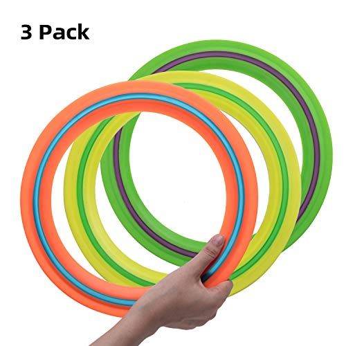 OUOnDAD Frisbee Flying Disc Toys for Kids Adult 115 inch Flying Ring 3 Pack Best Sport Outdoor Toy Gift for Boys Girls Family YellowampGreenampOrange