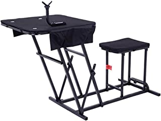 SSLine Portable Shooting Bench Seat with Table Gun Rest, Adjustable Height Bench Gun Rest Shooting Table with Ammo Pockets for Outdoor Range