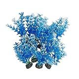 Juego de 10 piezas de decoración para acuario o pecera, de plástico, para plantas de peces, tamaño pequeño (planta acuática azul)