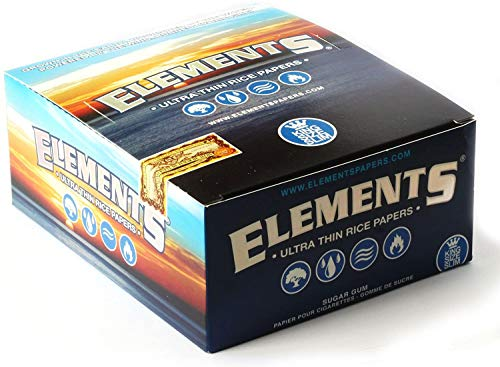 1 Box Elements Slim King Size Ultra Thin Rice Rolling Papers - Total 1600 Papers