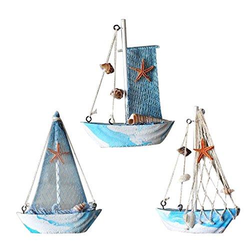 KESOTO 3 Stück Holz Segelschiff Deko Maritim Dekoartikel Meer Schiff Boot