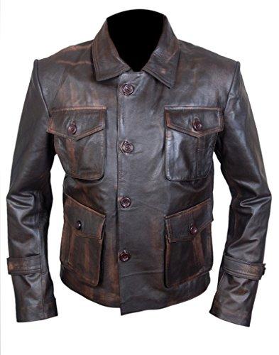 F&H Men's Genuine Distressed Leather Supernatural Season 7 Jacket 2XL Brown