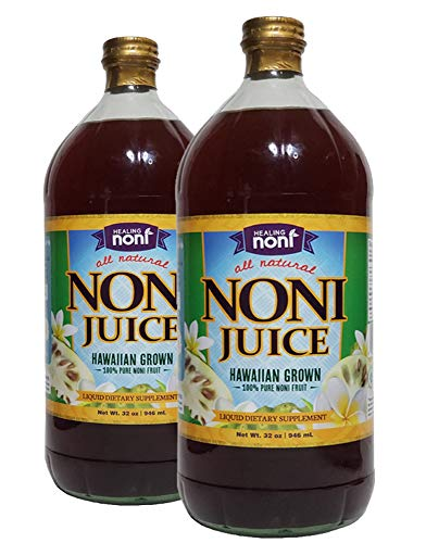 Healing Noni - 100% Pure Hawaiian Noni Juice - 2 Pack of 32oz Glass Bottles