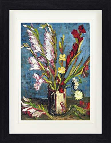 1art1 Vincent Van Gogh - Vase Mit Gladiolen, 1886 Gerahmtes Bild Mit Edlem Passepartout | Wand-Bilder | Kunstdruck Poster Im Bilderrahmen 40 x 30 cm