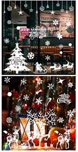 Cymax Weihnachten Fenstersticker Wiederverwendbare, Fensterdeko Schneeflocken Fensterbilder Abnehmbare Fensteraufkleber für Weihnachts-Fenster Dekoration, Türen,Schaufenster, Vitrinen, Glasfronten