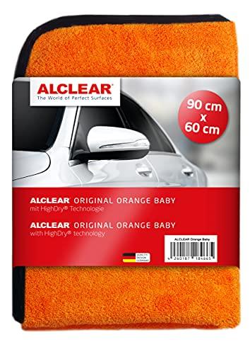 ALCLEAR 9520 1x Orange Baby Auto Trockentuch XXL 60x90 cm - weiches Mikrofasertuch Auto Trockentuch mit riesiger Saugkraft - fusselfreie Microfaser Handtücher für Profi Autopflege Lackpflege