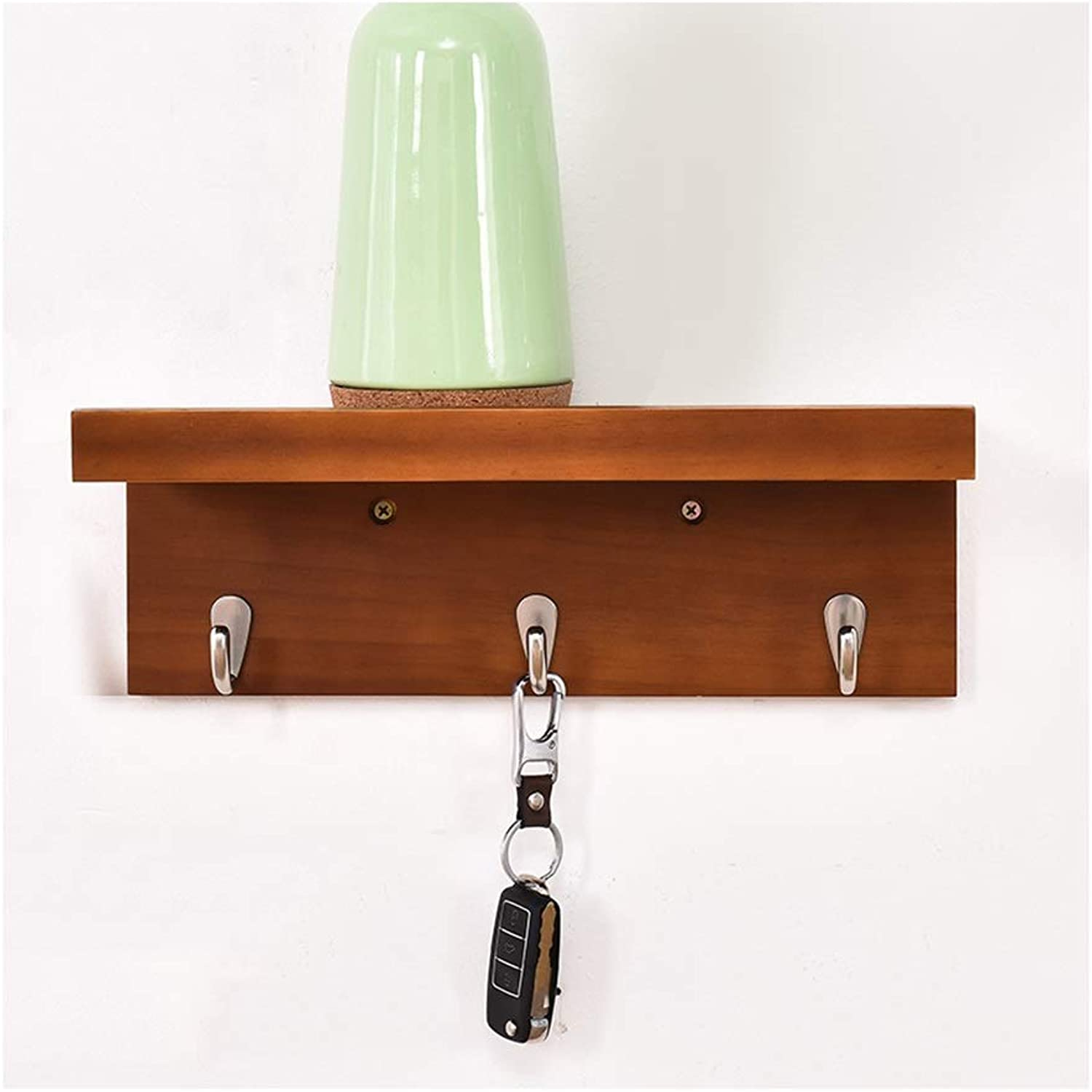 Coat Hanger Coat Rack Creative Solid Wood Coat Hooks With Storage Shelf Home Bedroom Living Room Porch Wall Mounted Clothes Hook (Size   3 hooks)