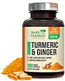 Turmeric Curcumin with BioPerine & Ginger 95% Curcuminoids 2600mg - Black Pepper for Absorption, Made in USA, Natural Immune Support, Turmeric Ginger Supplement by Health Nutrition - 180 Capsules