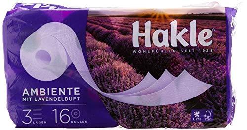 Hakle Toilettenpapier Ambiente, 3-lagig, 1 x Vorratspack mit 48 Rollen (3 x 16 Rollen), Lavender Duft