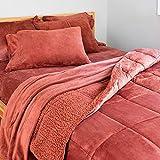 Berkshire Blanket VelvetLoft Comforter Set | Sherpa Reversible Comforter & Sham Set | Mahogany | King (90' x 108')